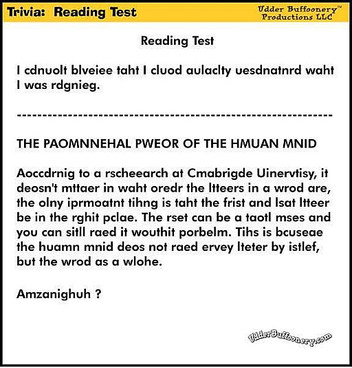 Trivia : Reading Test