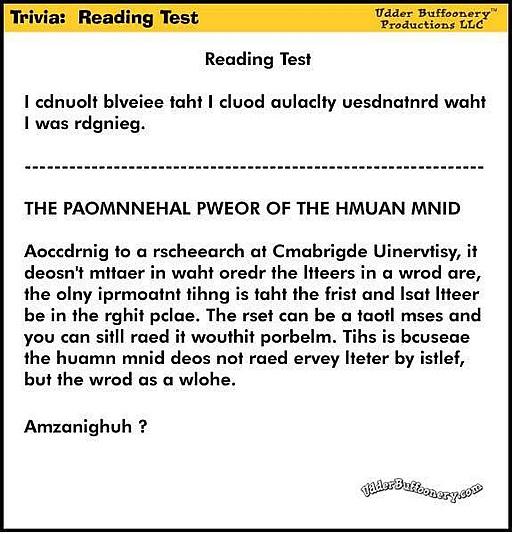 Trivia : Reading Test