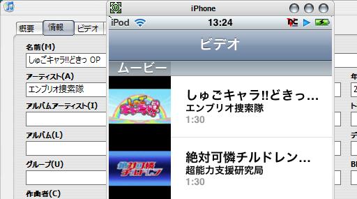 iTunes 「ビデオ」設定項目
