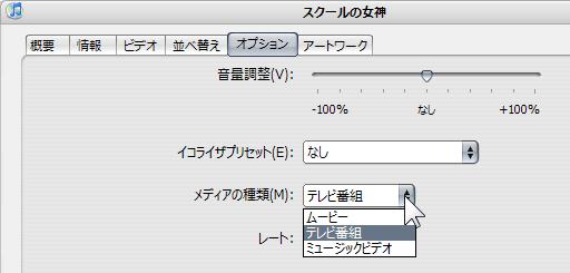 iTunes オプション 設定項目