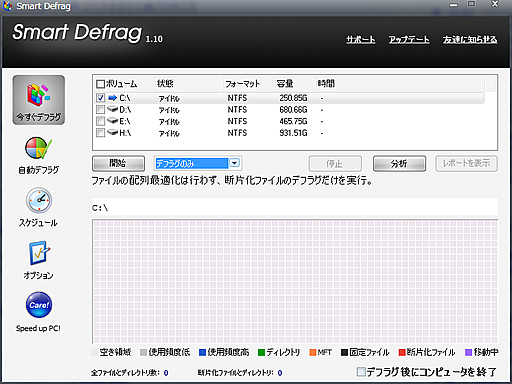 Smart Defrag メイン画面