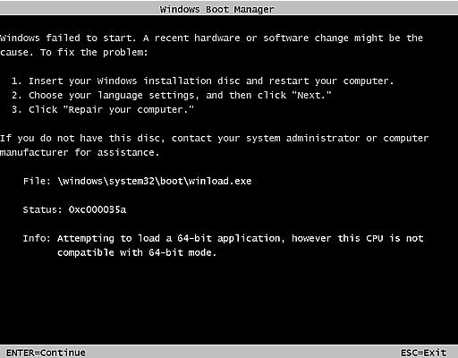 Windows 7 エラー画面