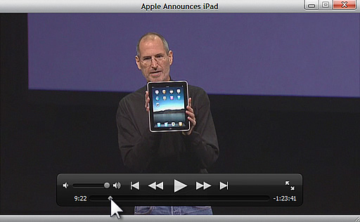 iTunes 9.0.3のビデオウィンドウ