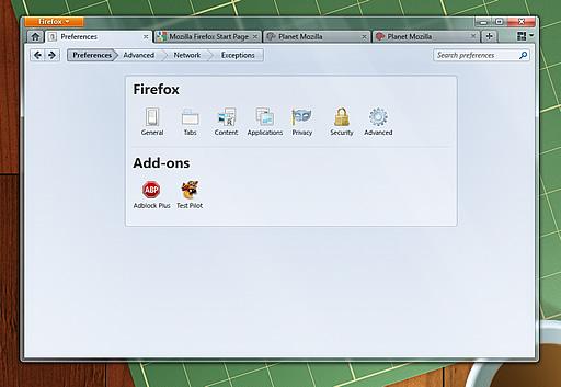 Firefox 4.0 モックアップ