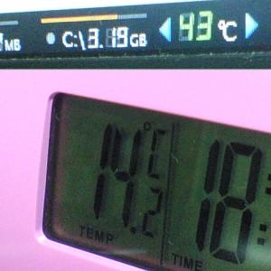 卓上時計に温度計が付いていたので、ハードディスクの温度と比較してみた