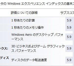 Windows エクスペリエンス インデックス、2009年2月現在の最高値は「5.9」
