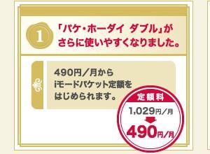 5/1からドコモの「パケ・ホーダイ ダブル」「Biz・ホーダイ ダブル」の下限が490円に値下げ